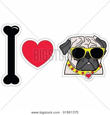 I Love Pugs With Hipsters Glasses And Yellow Collar