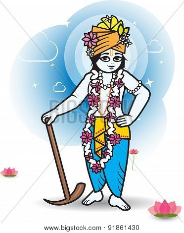Lord Shri Balaram with plow, vector illustration.