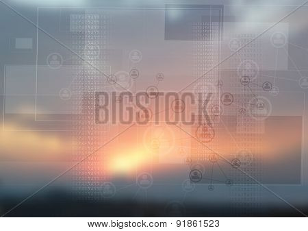 Abstract tech design on magic sunset backdrop. Vector design pastel colors