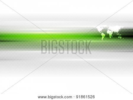 Green white hi-tech abstract background with world map. Vector art design