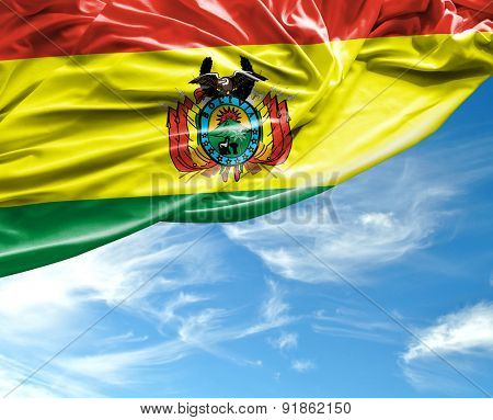 Bolivian waving flag on a beautiful day
