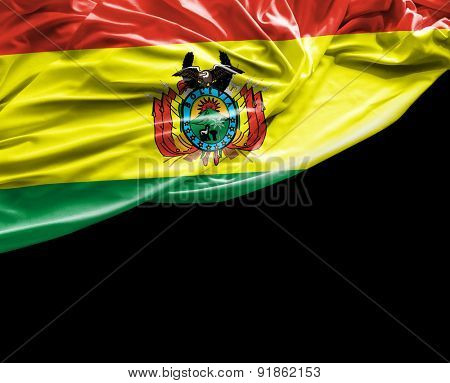 Bolivian waving flag on black background