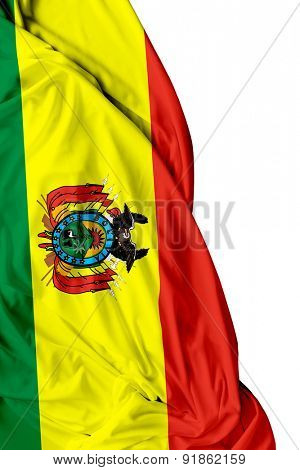 Bolivian waving flag on white background