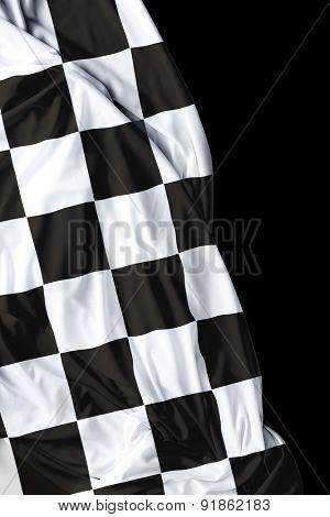 Checkered flag on black background