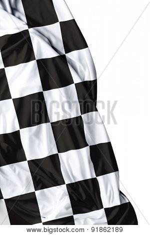 Checkered flag on white background