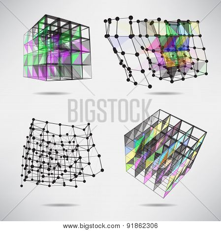 Set Of Cubes With Color Texture Triangles, Lines And Dots