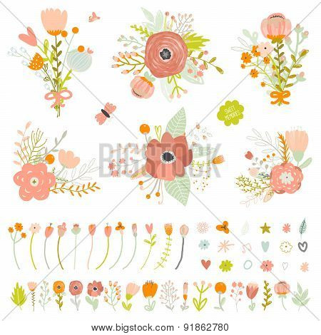 Romantic and love Summer bouquets of flowers