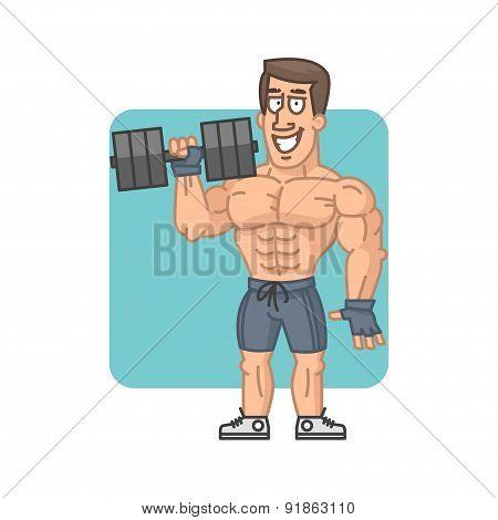 Bodybuilder holding dumbbell and smiling