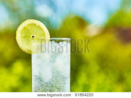 Sparkling Water And Lemon Slice
