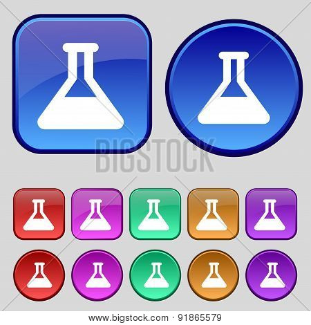 Conical Flask Icon Sign. A Set Of Twelve Vintage Buttons For Your Design. Vector