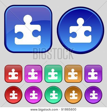 Puzzle Piece Icon Sign. A Set Of Twelve Vintage Buttons For Your Design. Vector