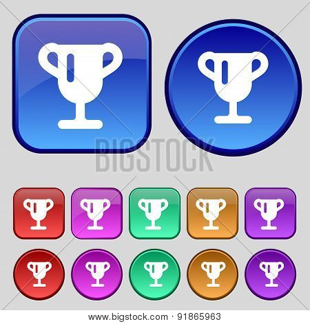 Winner Cup, Awarding Of Winners, Trophy Icon Sign. A Set Of Twelve Vintage Buttons For Your Design.
