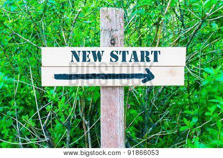 New Start Directional Sign