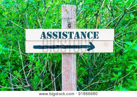 Assistance Directional Sign