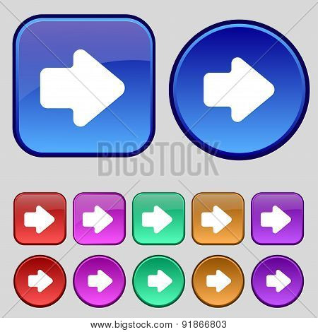 Arrow Right, Next Icon Sign. A Set Of Twelve Vintage Buttons For Your Design. Vector