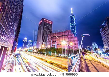 traffic light trails in modern street.The chinese words are the name of roads and traffic signs.
