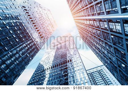 low angle view of modern buildings