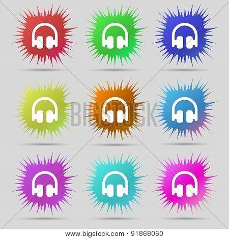 Headphones, Earphones Icon Sign. A Set Of Nine Original Needle Buttons. Vector