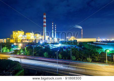 illuminated power station