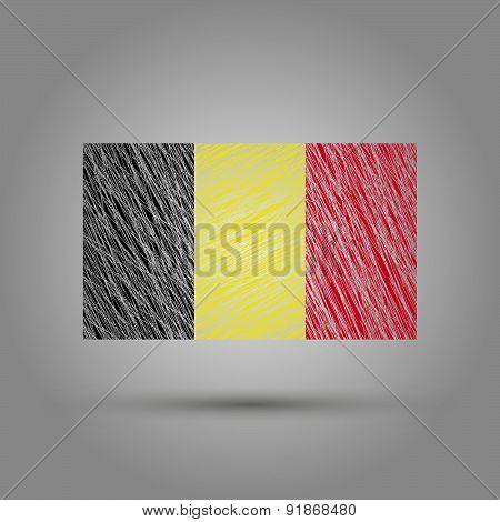 Flag of Belgium. Light grunge effect.