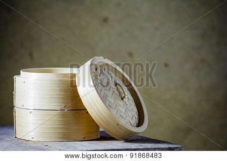 Bamboo Round Container Shape For Steaming Asian Food, Japanese Chinese Vietnamese