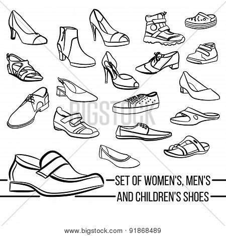 Set vector women, men and children's shoes painted lines