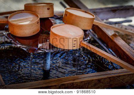 Bamboo ladles close-up