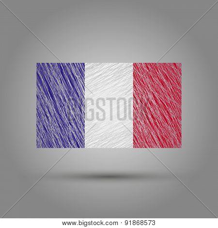 Flag of France. Light grunge effect.