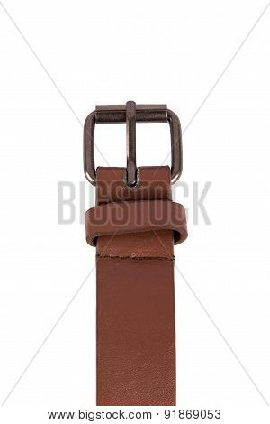 Brown Leather Belt Buckle