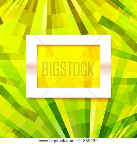 Vector Old Style Green And Yellow Geometric Background With Paper Frame
