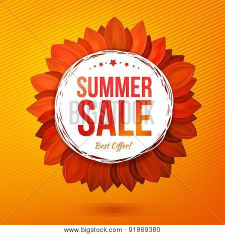 Sale Illustrated Flower, Hot Colors Vector Banner