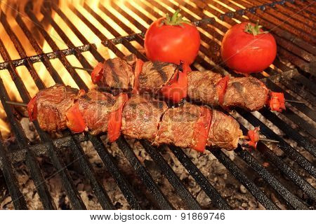 Beef Kebabs With Vegetables On The Hot Bbq Grill