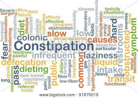 Background concept wordcloud illustration of constipation