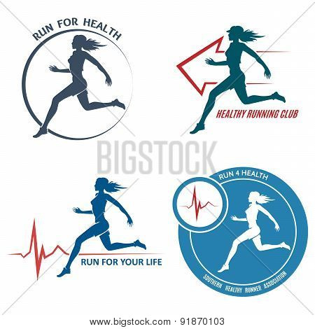 Healthy Run Emblem and Logo Set