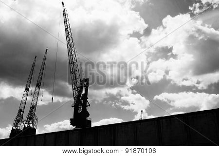 Cranes In The Port Of Rotterdam