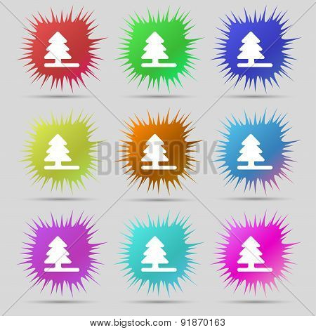 Christmas Tree Icon Sign. A Set Of Nine Original Needle Buttons. Vector