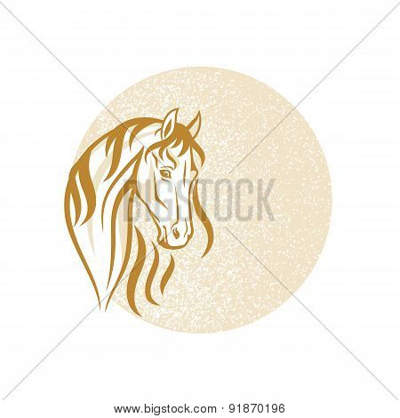 The Horse on the distressed background - Vector Illustration