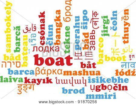 Background concept wordcloud multilanguage international many language illustration of boat