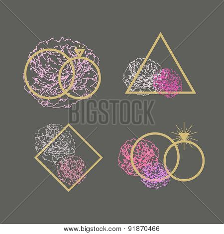 Wedding agency logo vector set. Engagement rings and peonies elements