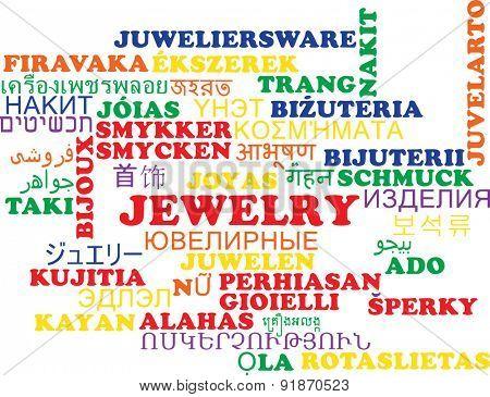 Background concept wordcloud multilanguage international many language illustration of jewelry