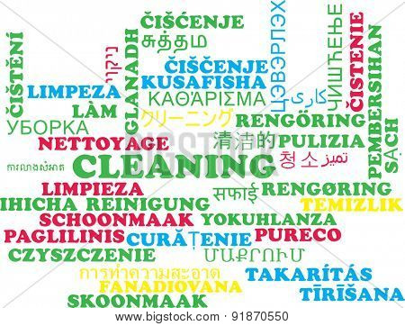 Background concept wordcloud multilanguage international many language illustration of cleaning