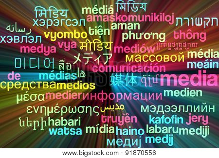 Background concept wordcloud multilanguage international many language illustration of media glowing light