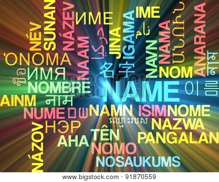 Background concept wordcloud multilanguage international many language illustration of name glowing light