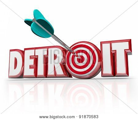 Detroit word in red 3d letters and an arrow in a target or bulls-eye in the letter O to illustrate focus on the motor city or auto industry