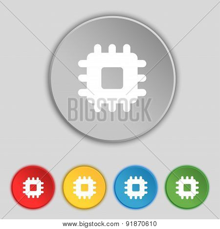 Central Processing Unit Icon Sign. Symbol On Five Flat Buttons. Vector