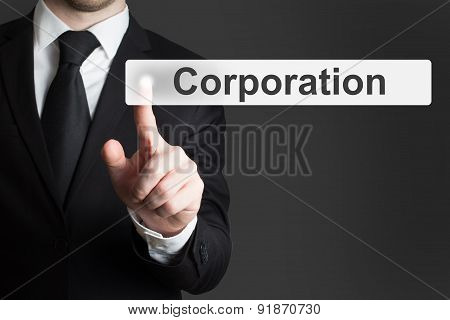Businessman Pushing Touchscreen Button Corporation