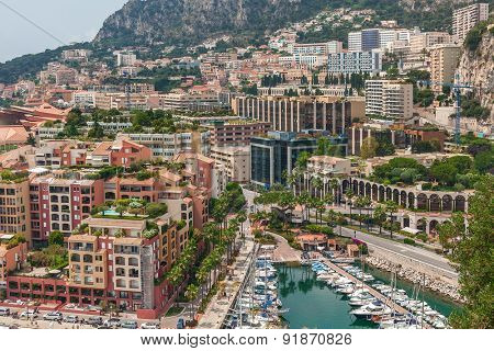 MONTE CARLO, MONACO - JULY 13, 2013: View from above on marina and modern building of Monaco - principality on French Riviera, governed under a form of constitutional monarchy by Prince Albert II .