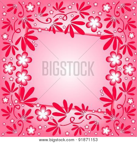 Crimson Background With Floral Ornament And Label