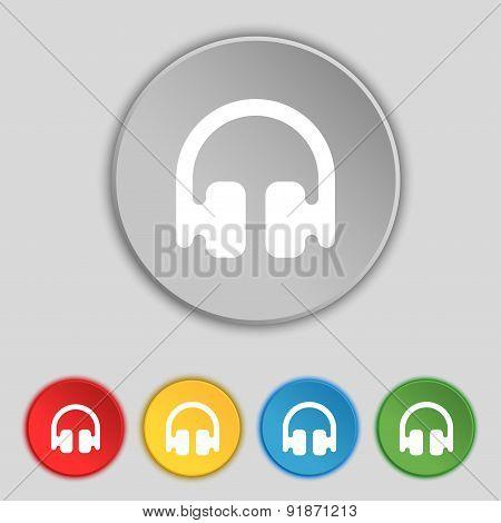 Headphones, Earphones Icon Sign. Symbol On Five Flat Buttons. Vector