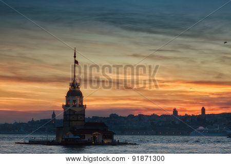 View Of The Maiden Tower On A Sunset, Istanbul